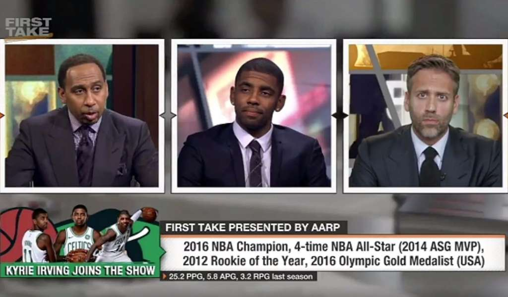 Kyrie Irving en el programa First take hablando sobre su llegada a los Boston Celtics